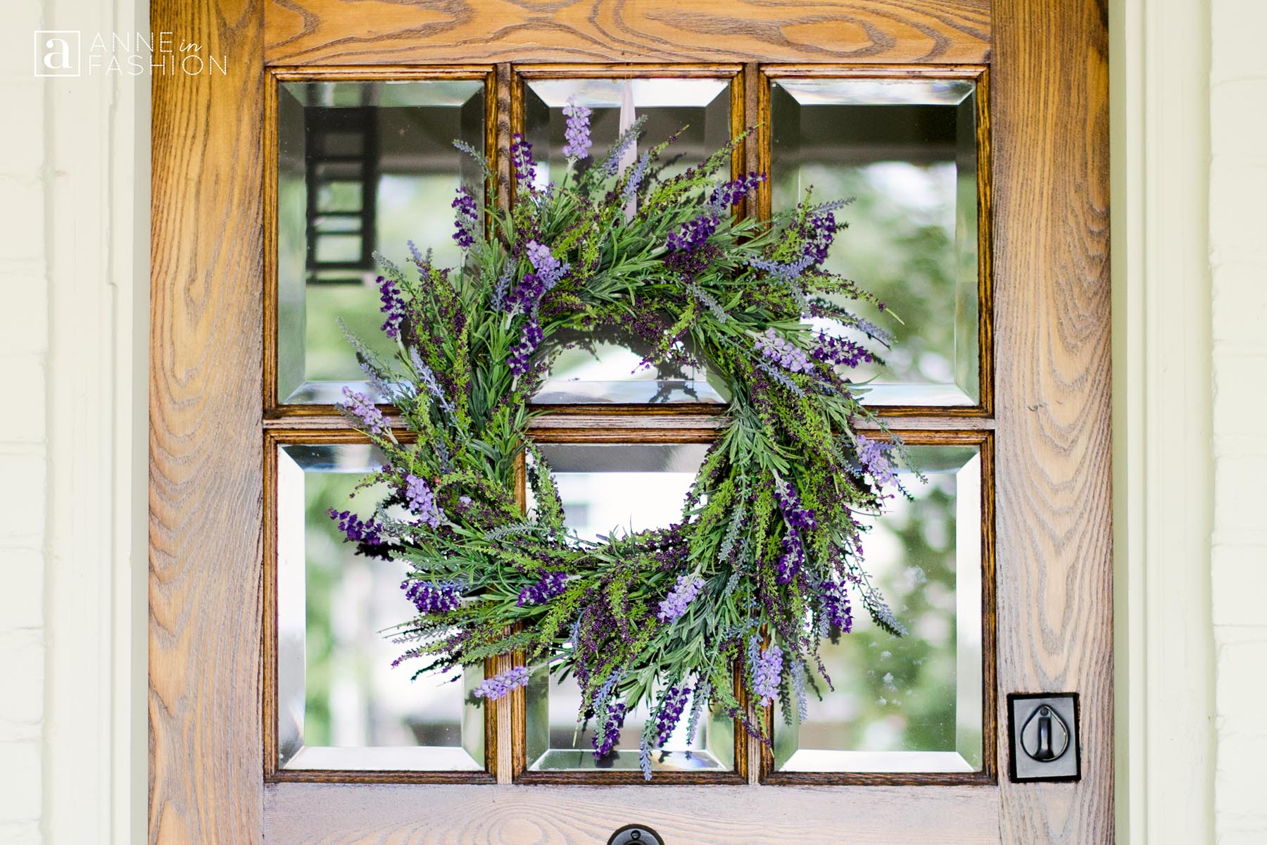 Lavender wreath on wood door
